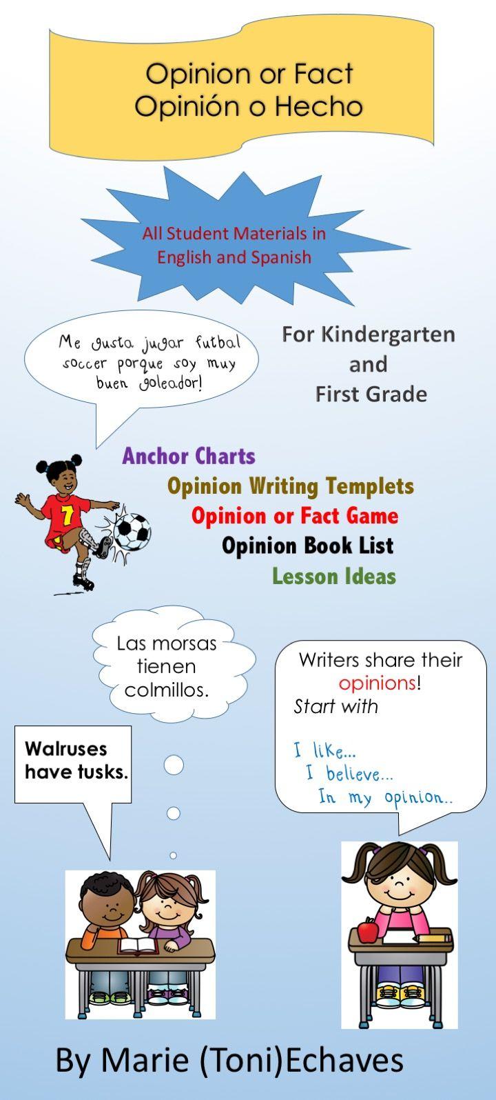 Opinion or Fact/Opinión o Hecho   Opinion writing, Kindergarten and ...