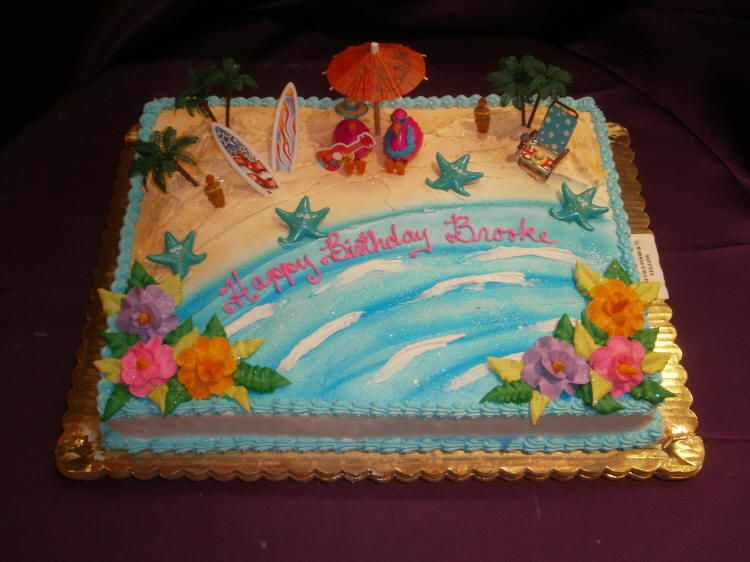 beach themed half sheet cakes Beach Wedding Sheet Cakes