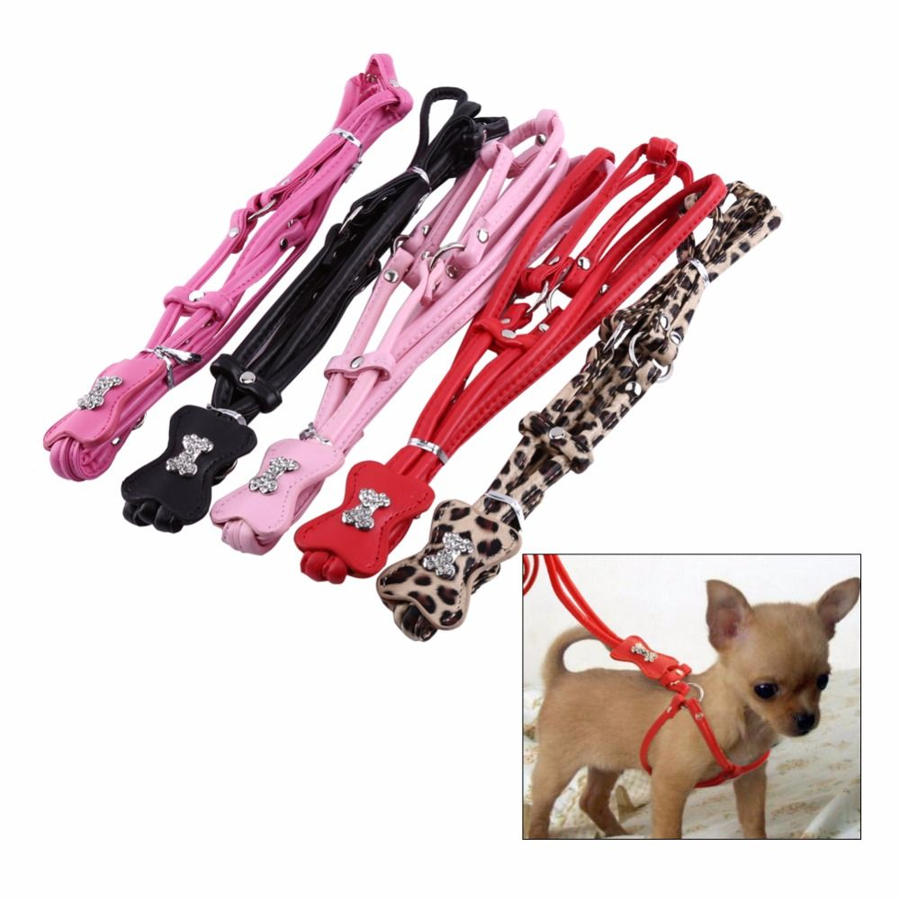 5 Colors Pet Puppy Dog Leashes Step-in Diamond PU Leather Leash Lead Rope Leopard Harness Set Rhineston All Seasons