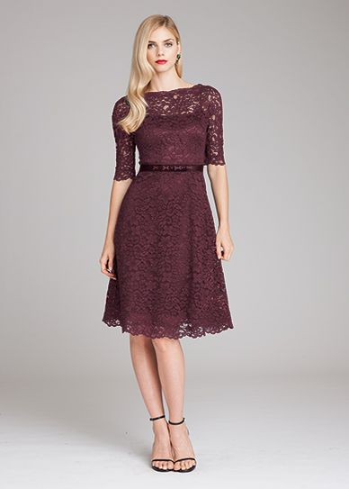 Burgundy lace tea length dress by Teri Jon  eb6209fe3