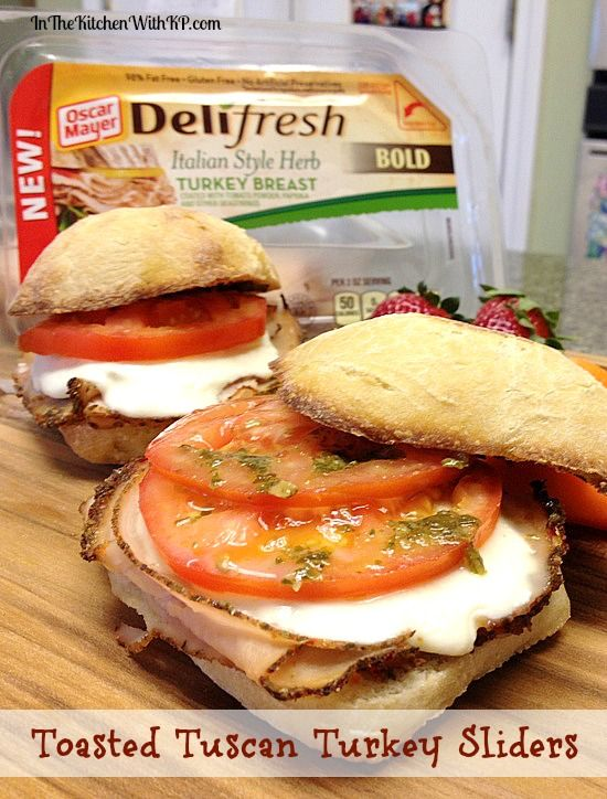 Warm, toasty and satisfying for a quick and easy meal in record time! Toasted Tuscan Turkey Sliders with @Oscar Palmér Mayer #DeliFreshBOLD #spon