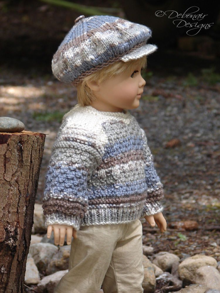 OOAK Hand Knit Sweater Cap set for American Boy/Girl Dolls by Debonair Designs