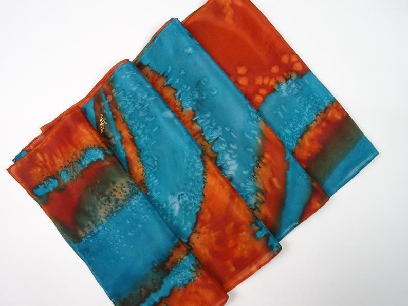Silk Scarf Hand Painted Burnt Orange Aqua And Turquoise Abstract Silk Scarf Turquoise Silk Scarf Orange Silk Scarf Hand Painted Burnt Orange Silk Scarf Painting