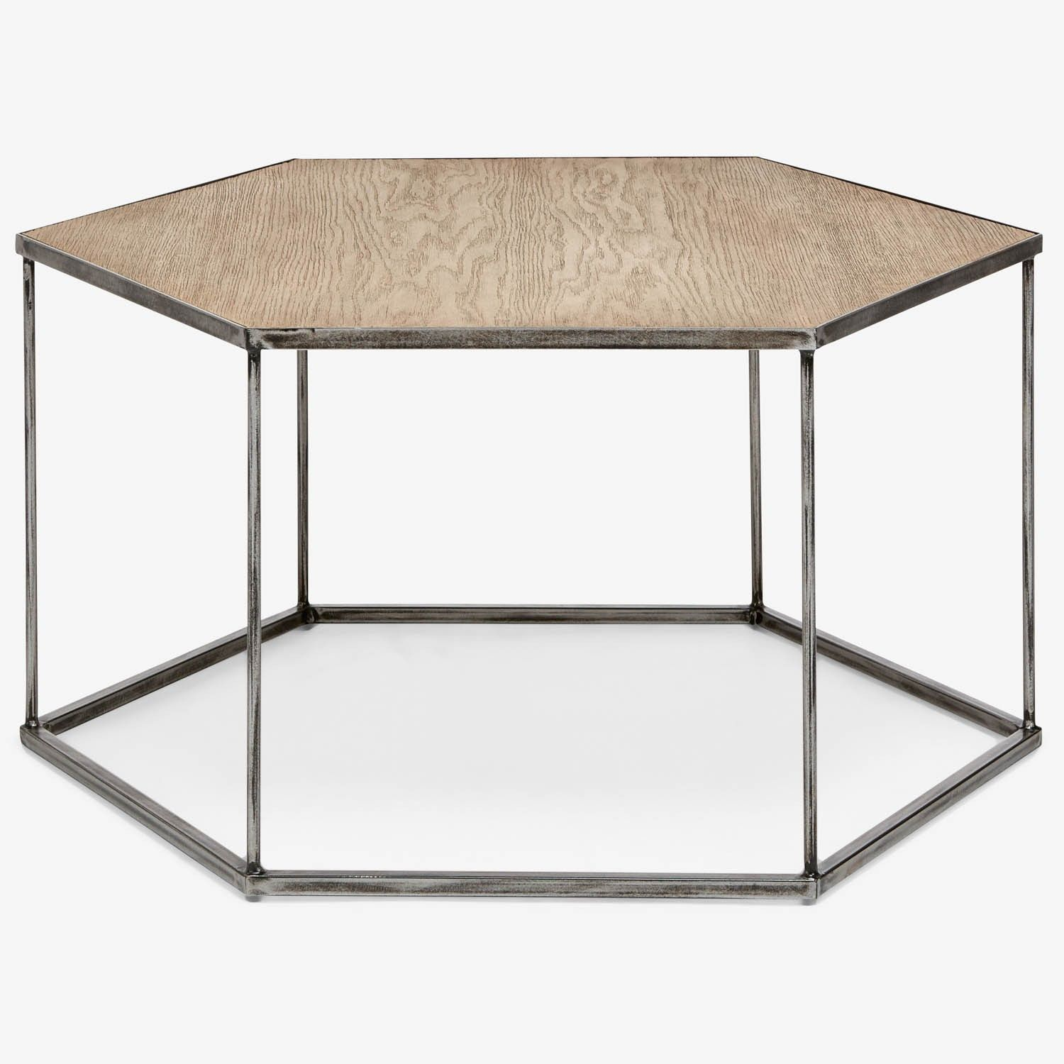 This geometric coffee table blends industrial elements with warm