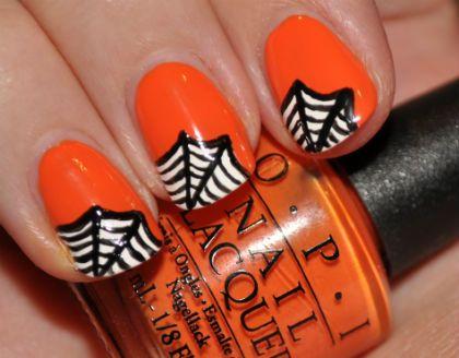 O P I Pumpkin Polish With B W Spiderwebs Nails Black Orange Halloween Nail Art Halloween Nail Art Spiderweb O P Halloween Nail Designs Nails Halloween Nail Art