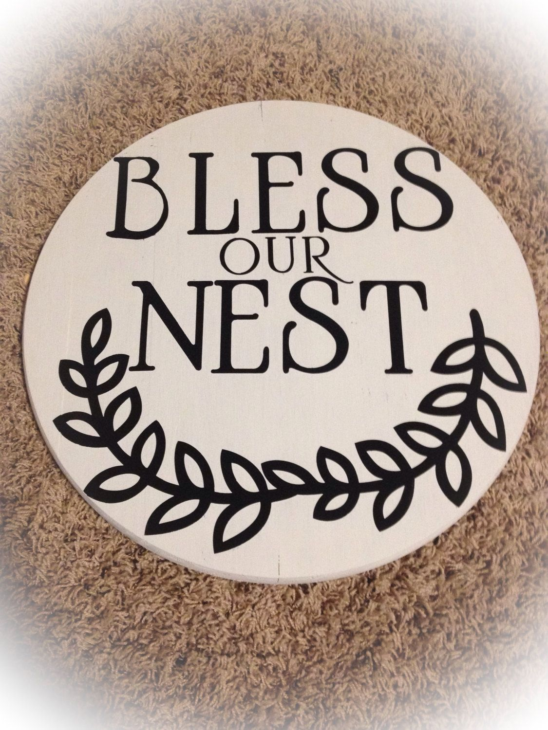 Bless Our Nest- Round Sign by NorthernPalletDesign on Etsy