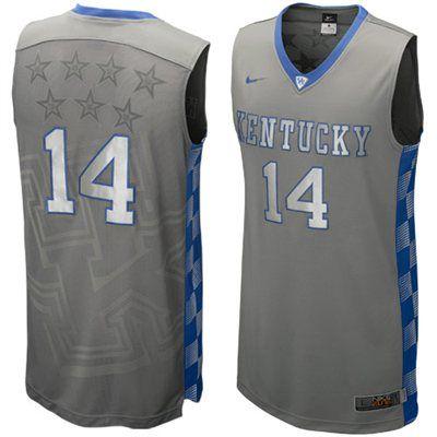 67b9583e178 Nike Kentucky Wildcats #14 Hyper Elite Platinum Basketball Jersey - Dark  Gray
