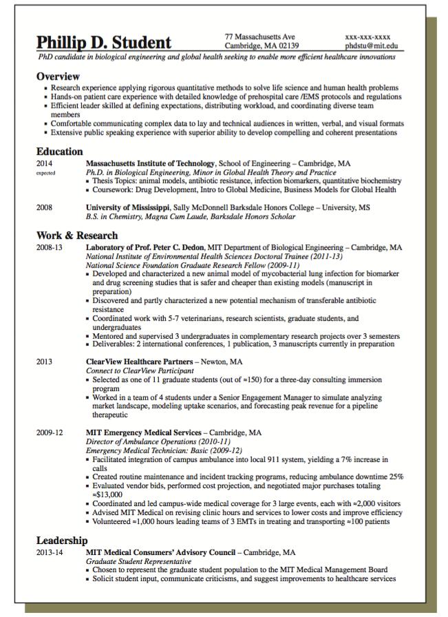 resume for biological engineering samples