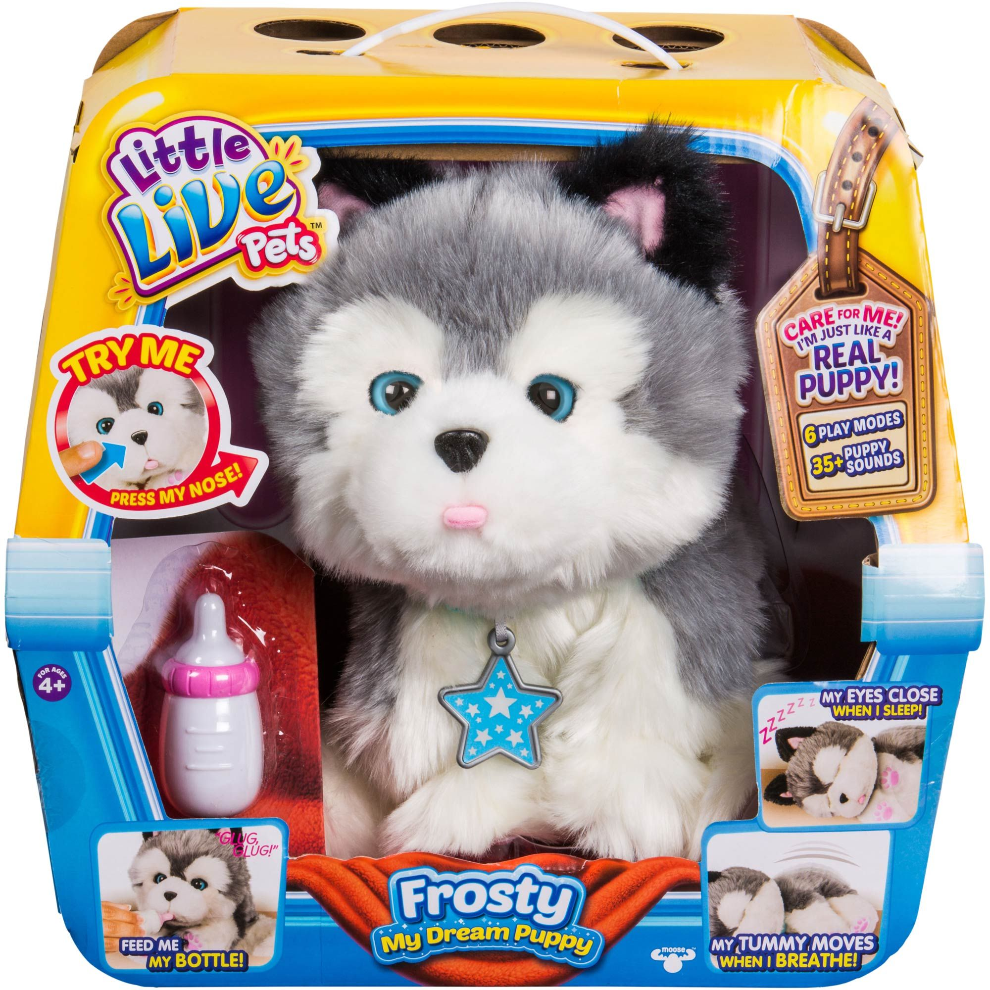 Frosty The Little Live Pets Husky Puppy From Moose Toys Is The No Mess Pup Who Loves To Be Loved Frosty Moves Feel Little Live Pets Kids Toys Animated Plush