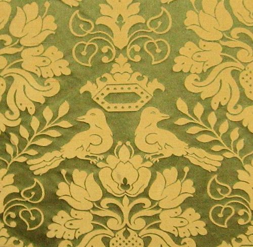 Scalamandre 100 Silk Gothic Meval Love Birds Damask Drapery Fabric Museum Repro From Late 1500s