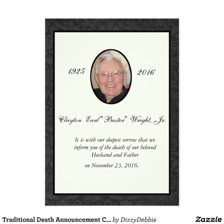 Traditional Death Announcement Card Death, Traditional and - death announcement cards free