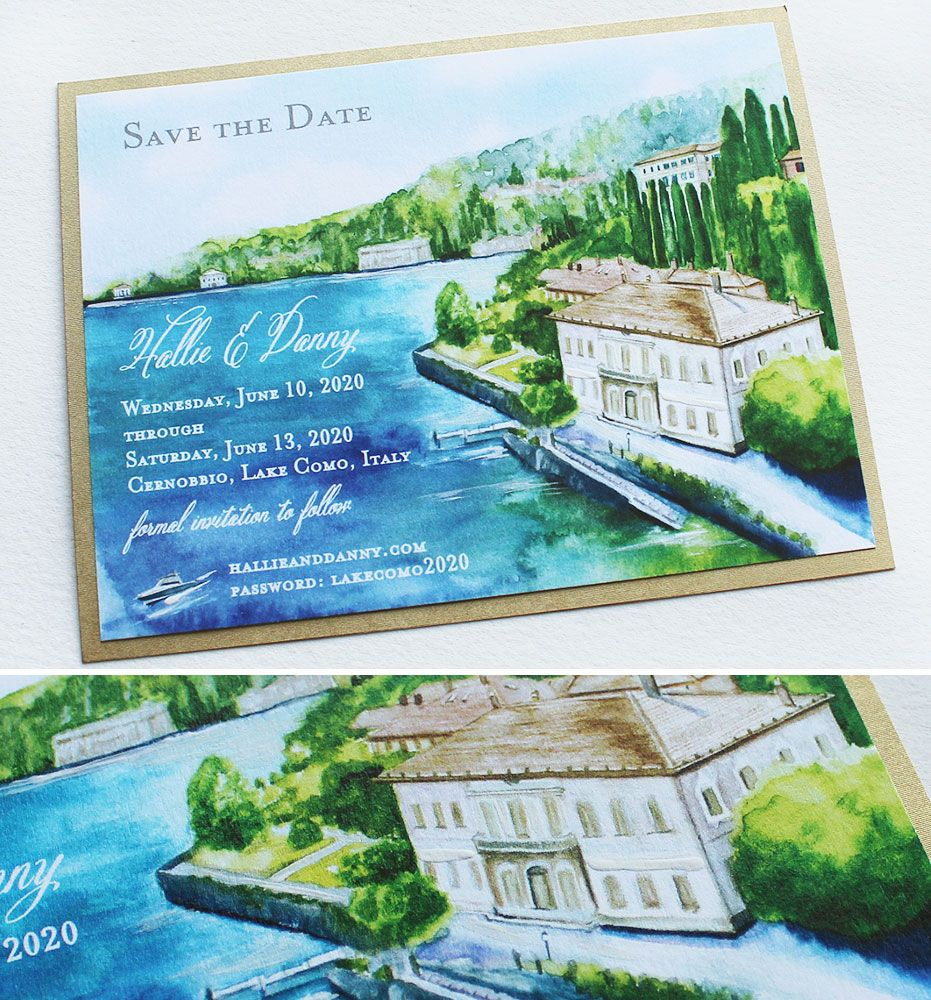Lake Wedding Ideas: Momental Designs Watercolor Lake Como Save The
