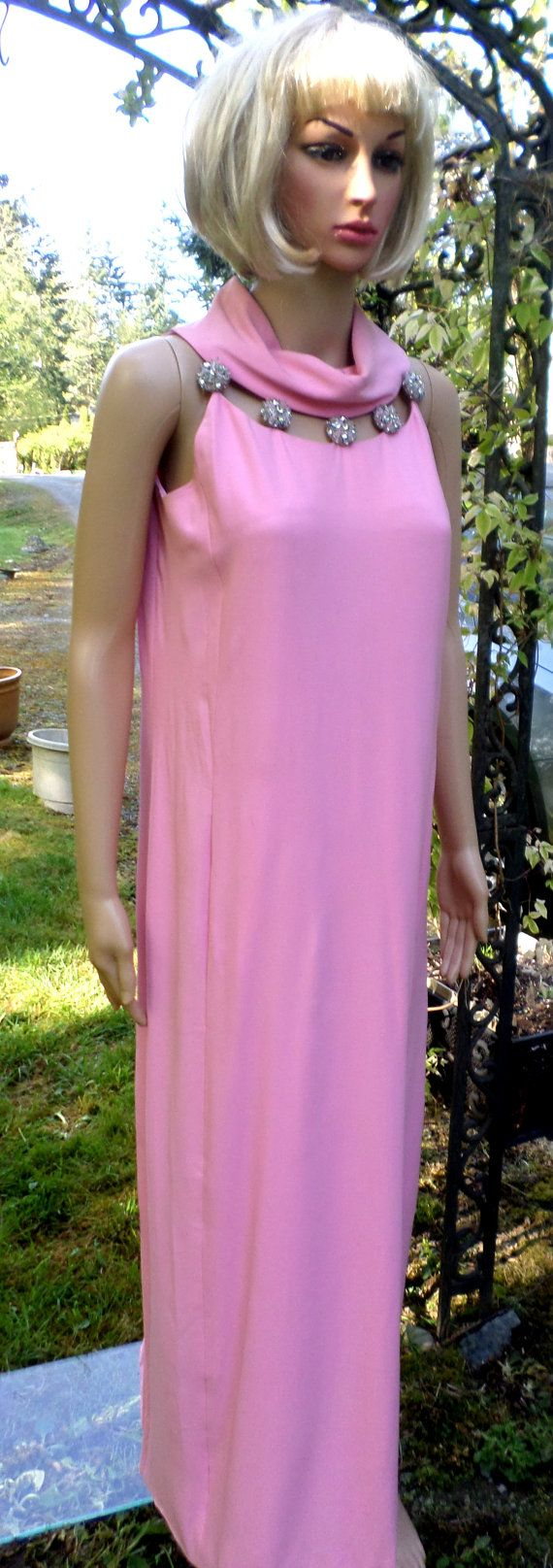 Vintage 60's Mod Pink Cowl Collar Halter Evening by Joiedeglam