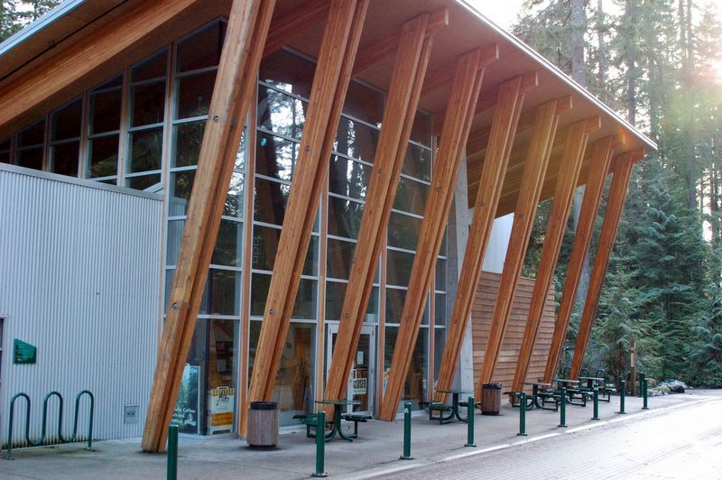Angled Wood Structure Brentwood Library 2015 Exteriors