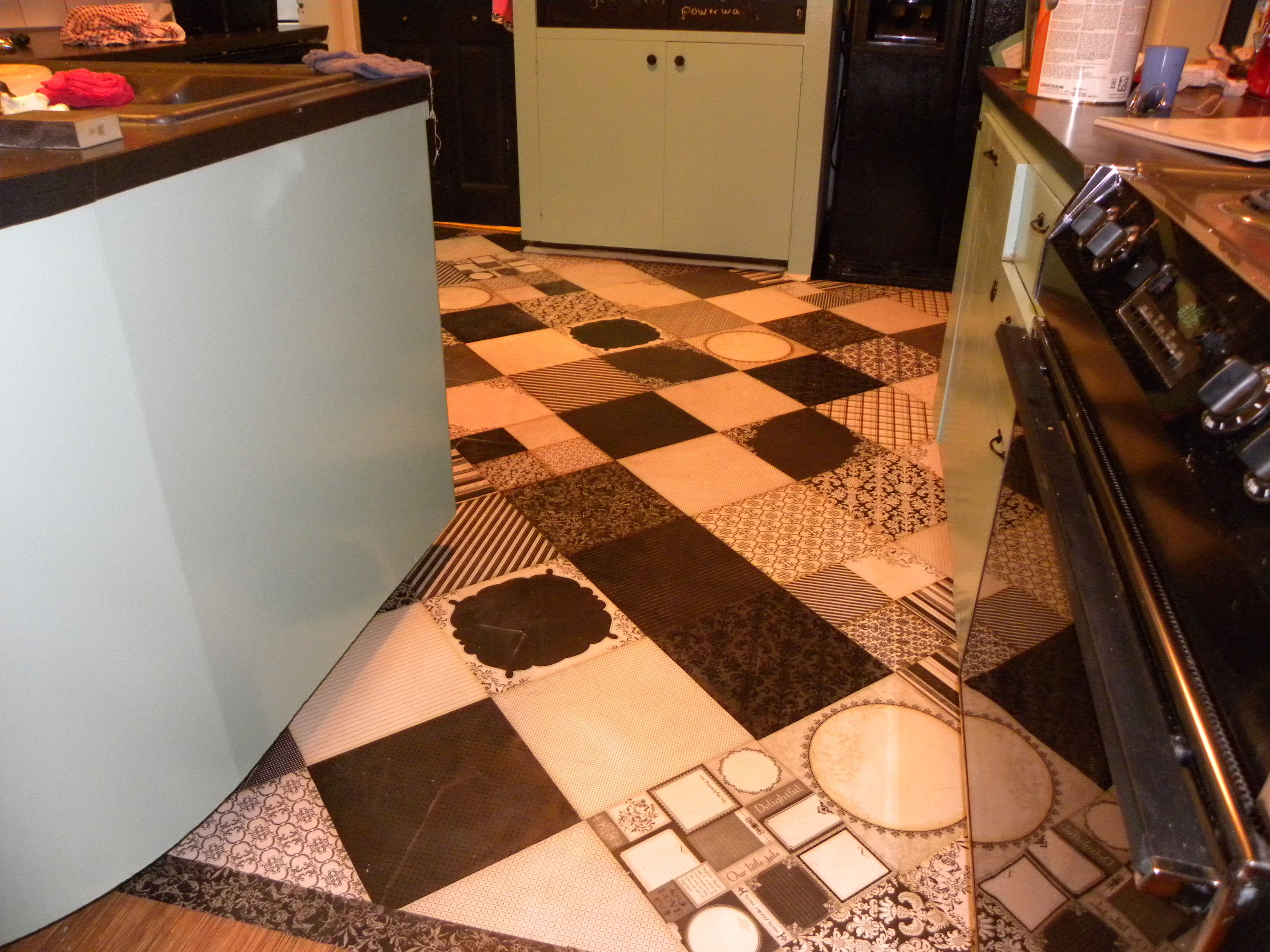 Vintage Kitchen Facelift With Scrapbook Paper Patchwork Floor Awesome Easy Cheap Diy Flooring Kitchen Facelift Flooring