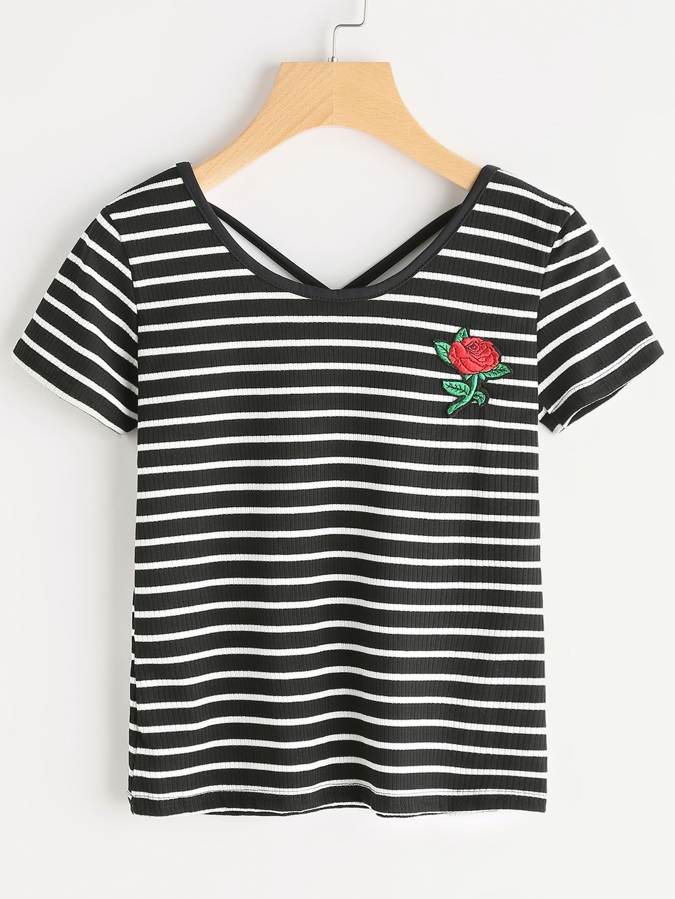 6ff3fbea356a8 Striped Rose Embroidered Criss Cross Back Tshirt | Fashion | Black ...