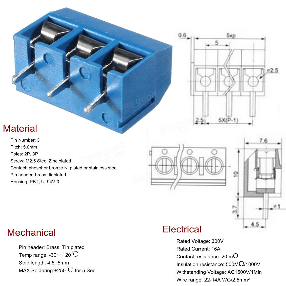 US$ 1 70 10pcs 5mm KF-301 3 Pin PCB Mount Block Screw
