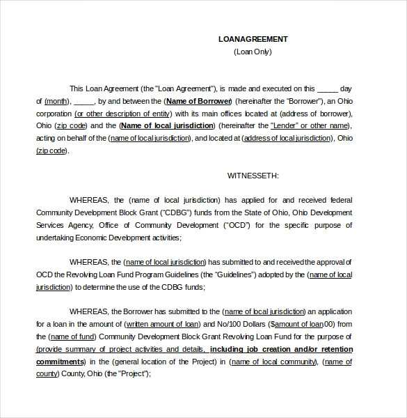 Loan Agreement Templates 15 Free Word Pdf Legal Formats Contract Template Loan Templates