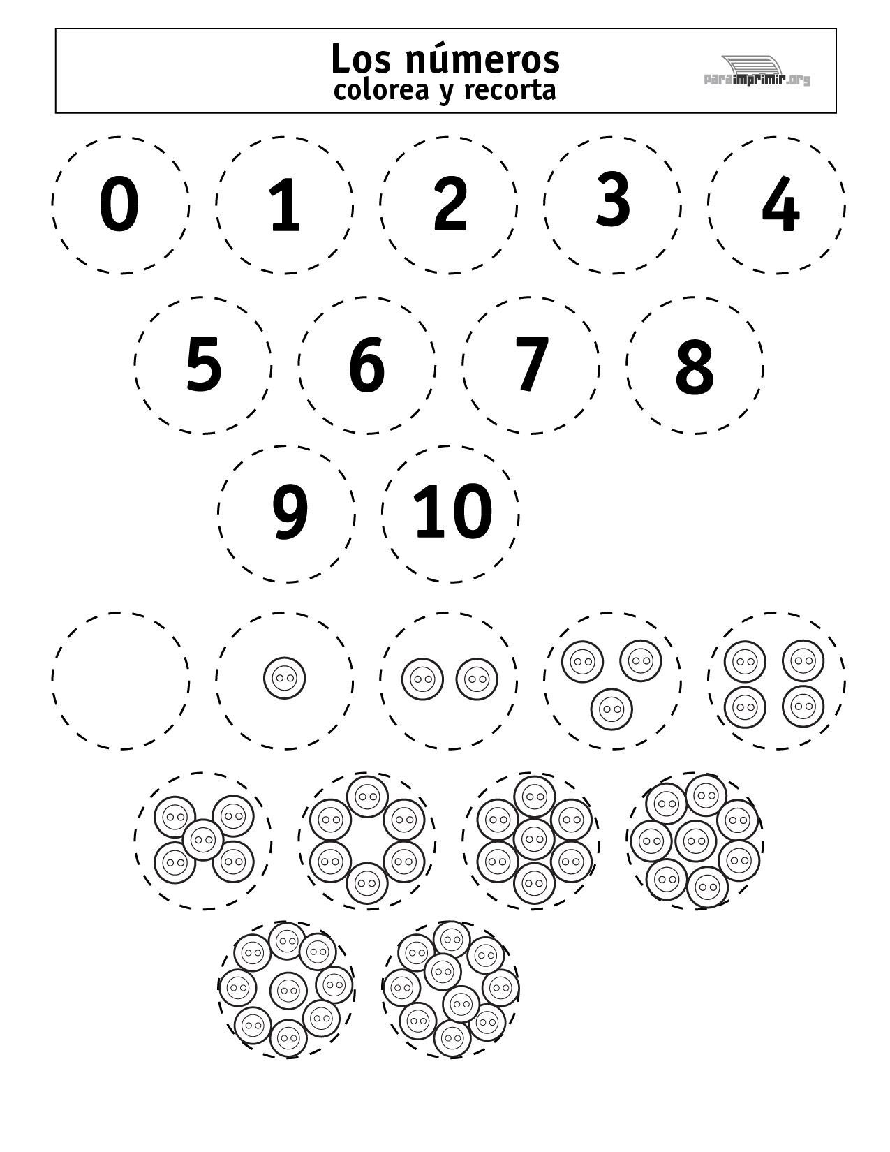 Colorear Preescolar Numeros Del 1 Al 10 Para Imprimir