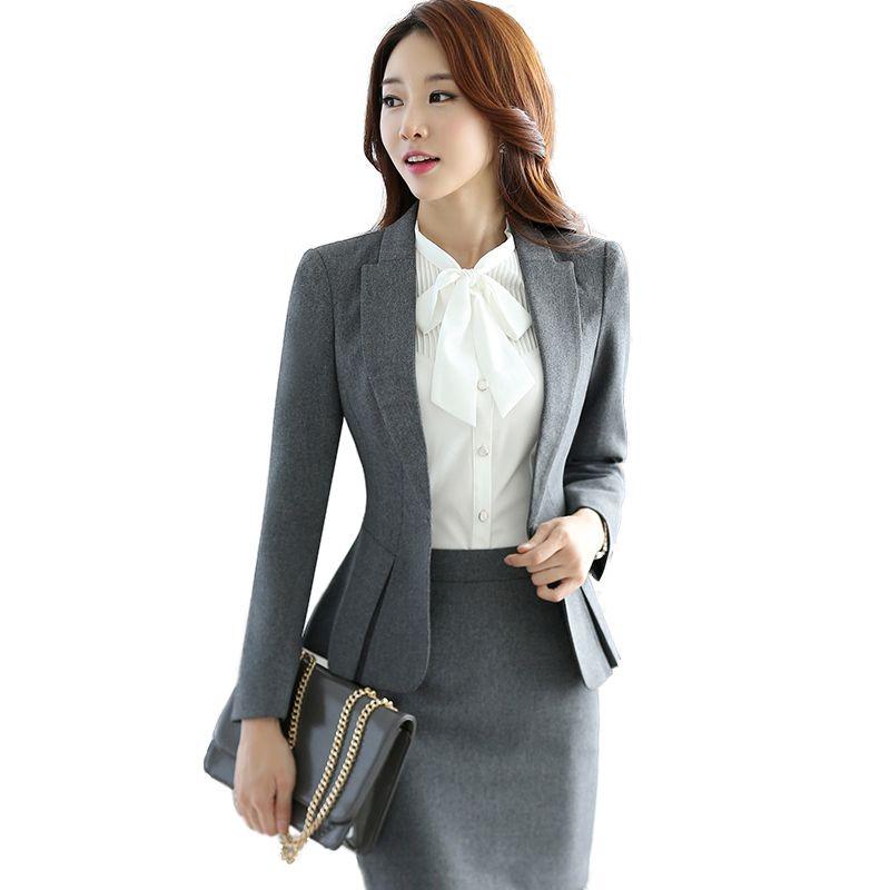 Profesional del otoño traje de negocios para mujer más tamaño falda trajes  del trabajo del OL delgado para mujer de la oficina chaqueta de manga larga  con ... 293916760bd9
