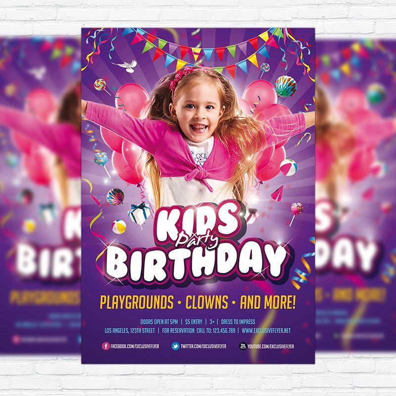 Kids Birthday Party Invitation - Premium Flyer Template + Facebook - birthday flyer template