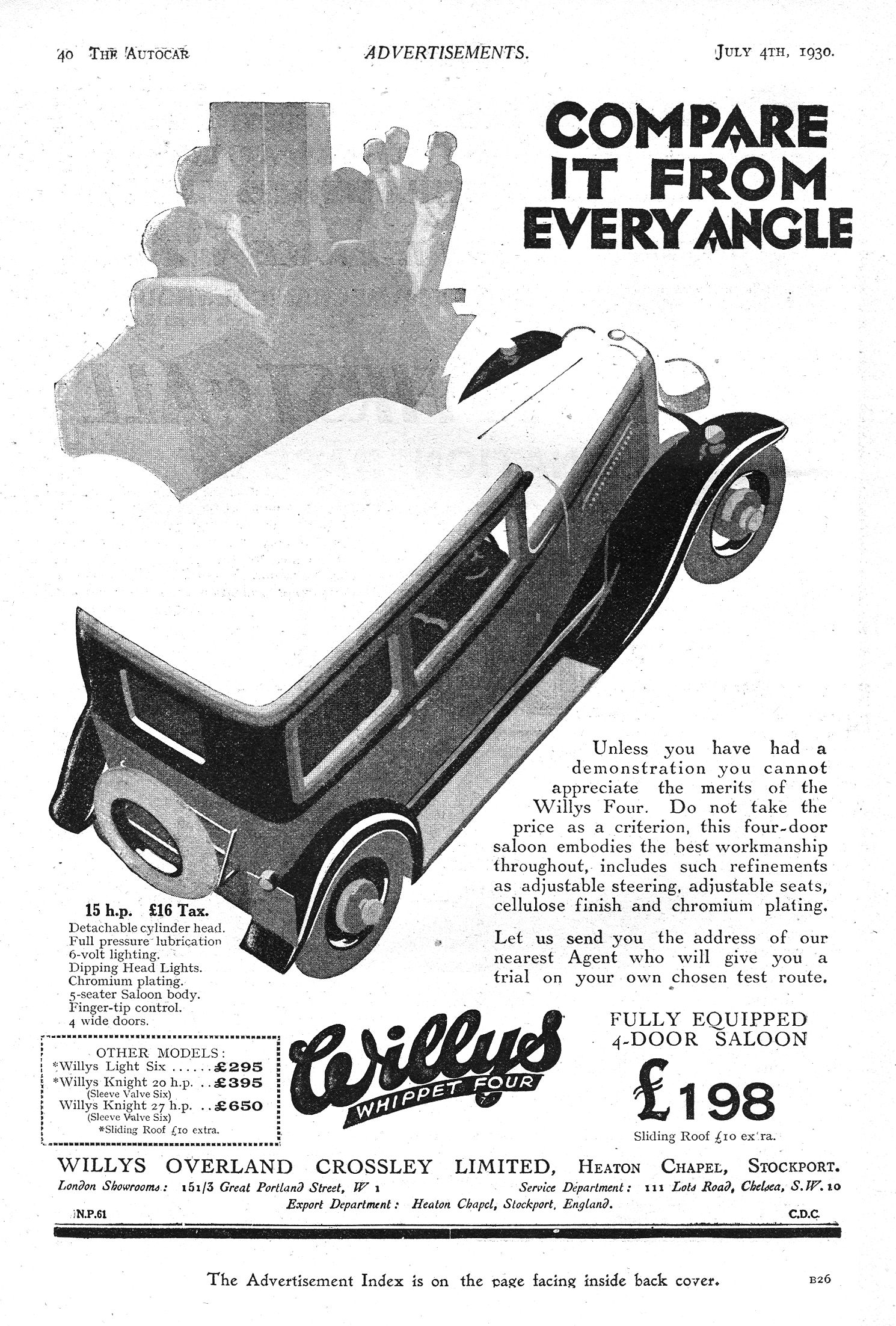 Willys Whippet Four Saloon Motor Car Autocar Advert 1930   Vintage ...