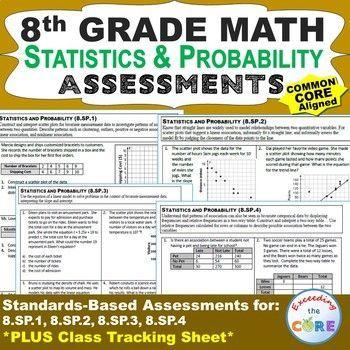 8th grade statistics probability assessments 8 sp common core math galore more. Black Bedroom Furniture Sets. Home Design Ideas