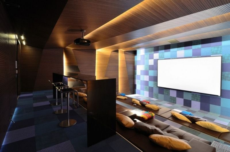 indirekte beleuchtung led heimkino holzpaneele 3d effekt - Heimkino Wohnzimmer Beleuchtung