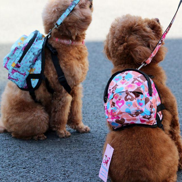 Nylon Heart Or Flower Shop Pet Dog Bags Backpacks For