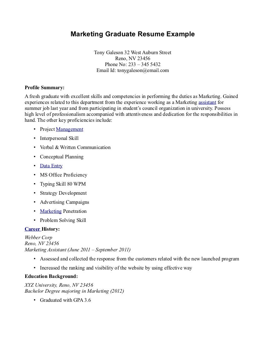 Work Resume Samples Resume Sample For Fresh Graduate  Httpjobresumesample978