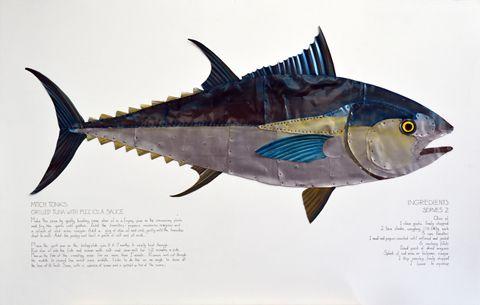 'Tuna with Pizziola sauce' Recipe by Mitch Tonks. Artwork by James Stewart.