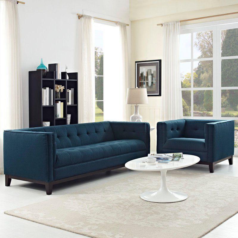 Modway Serve 2 Piece Living Room Sofa Set - EEI-2464-GRY-SET