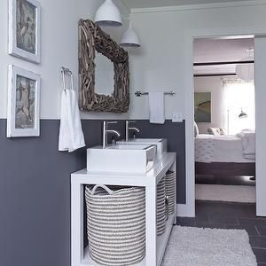 Milk and Honey Home - bathrooms - gray and white bathroom walls, gray and white bathroom, two tone walls, two tone bathroom walls, two tone ...