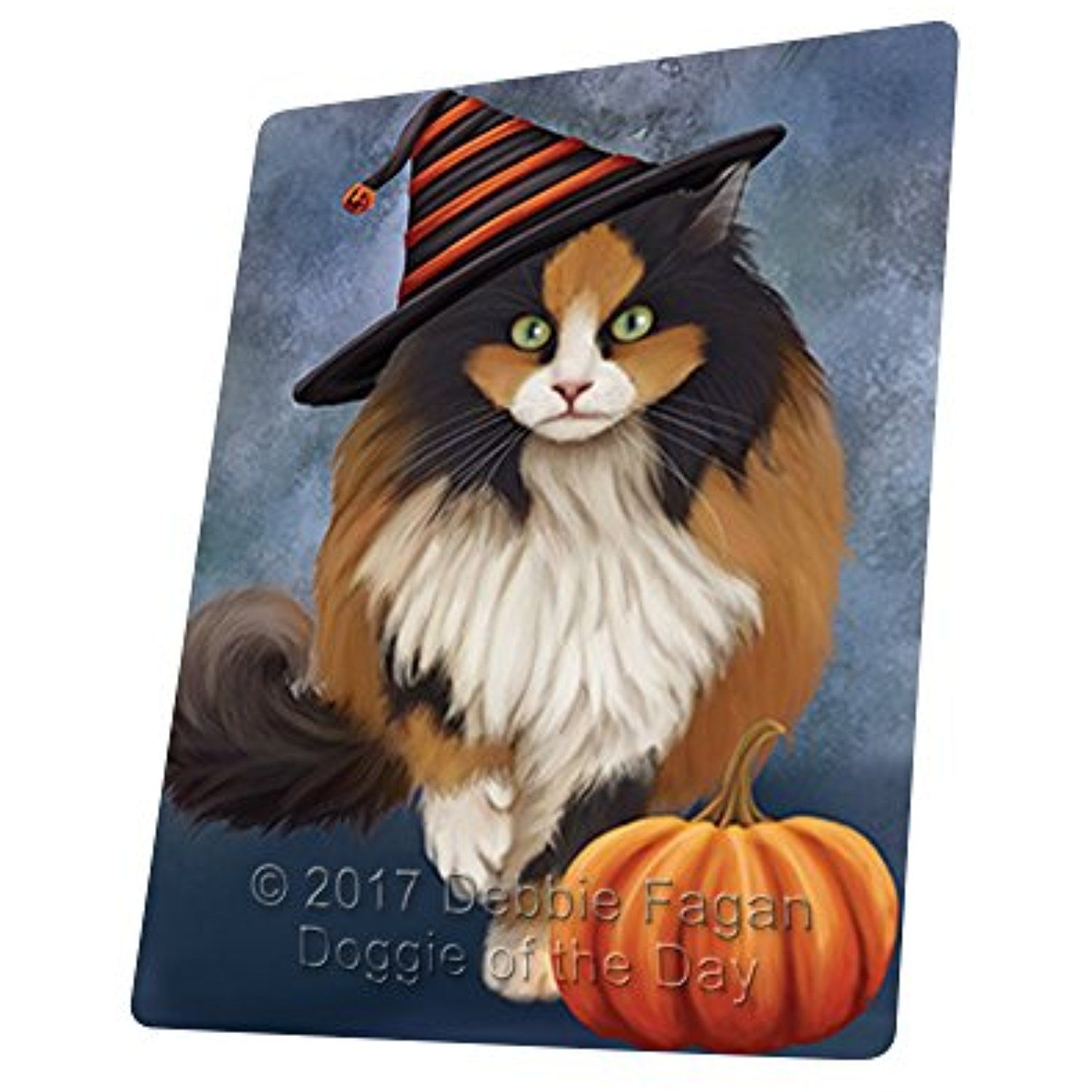 Happy Halloween Calico Cat Wearing Witch Hat with Pumpkin