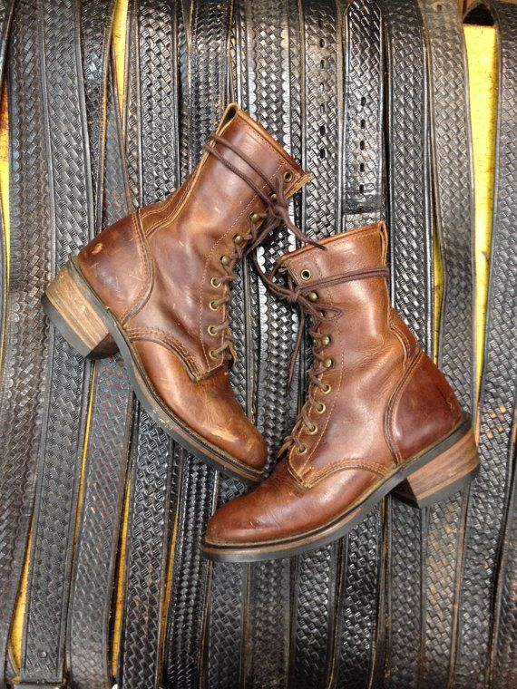 Vintage Leather Lace up Durango Boots