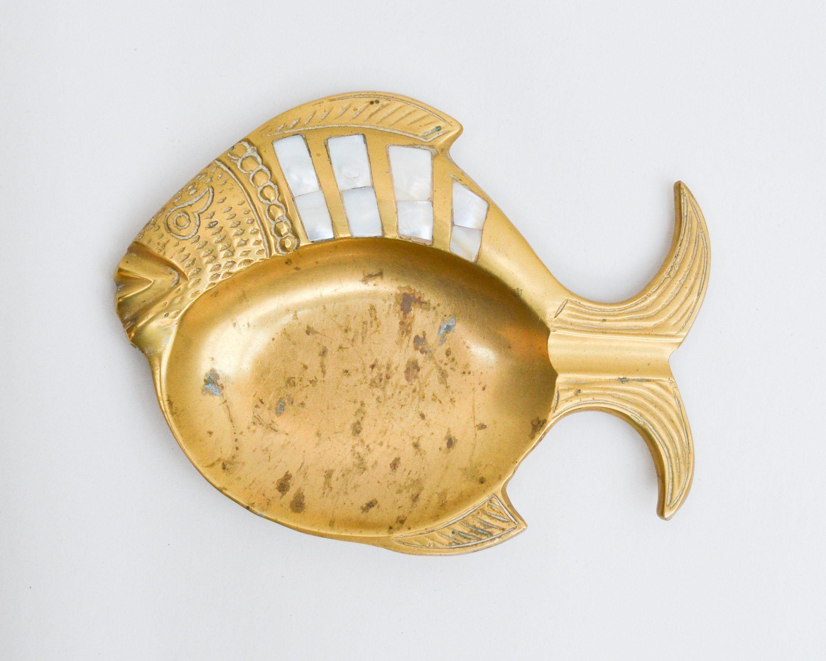 Vintage brass ring dishes catchall trinket trays trays