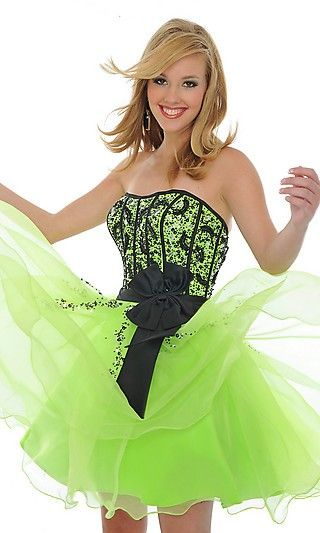Lime green prom dress. I wish I could have another prom! I would so wear this!