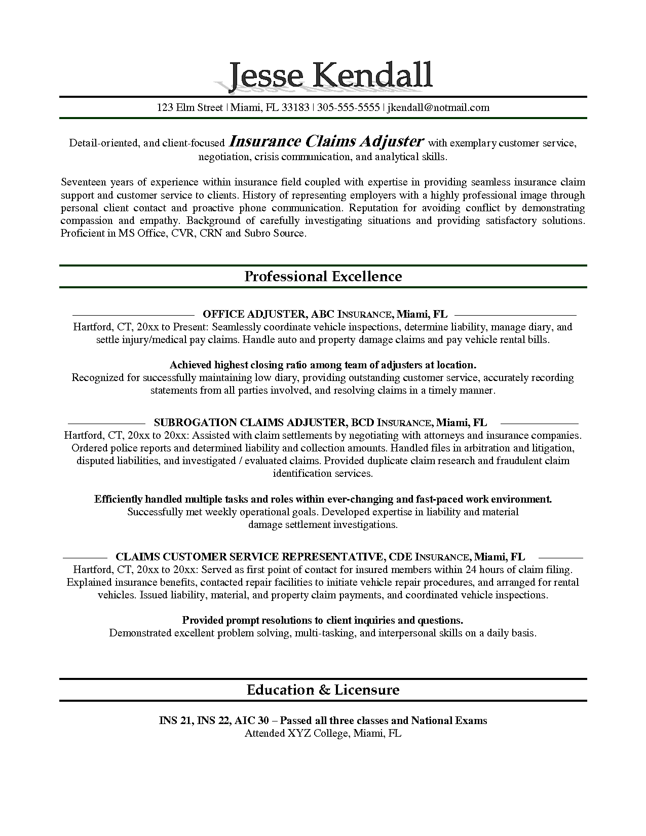 Isurance Adjuster Resume Sample Sample Resume Manager Resume Resume