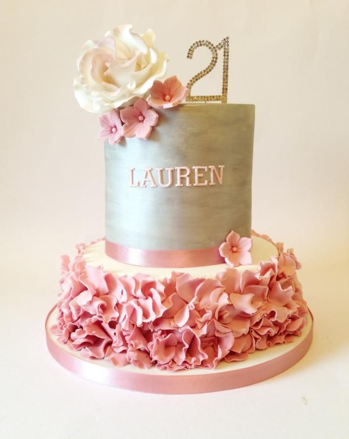 Fabulous Silver And Dusky Pink 21St Cake Cake By Claire Neal With Images Personalised Birthday Cards Veneteletsinfo