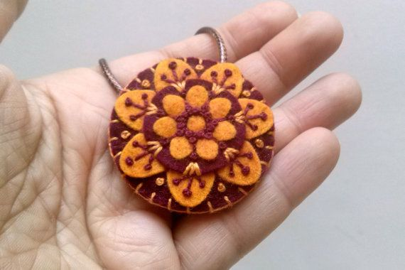 Felt embroidered mandala pendant bohemian necklace by DusiCrafts