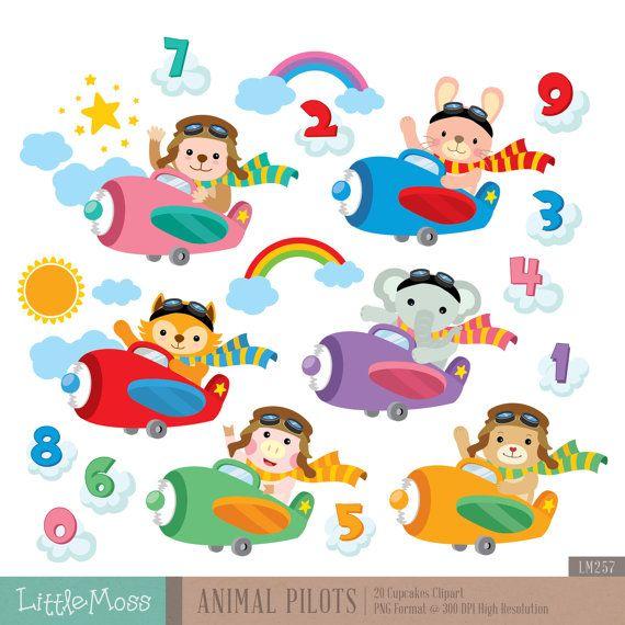 Dierlijke Piloten Digitale Clipart Piloten Clipart Etsy In 2021 Digital Clip Art Baby Wild Animals Clip Art