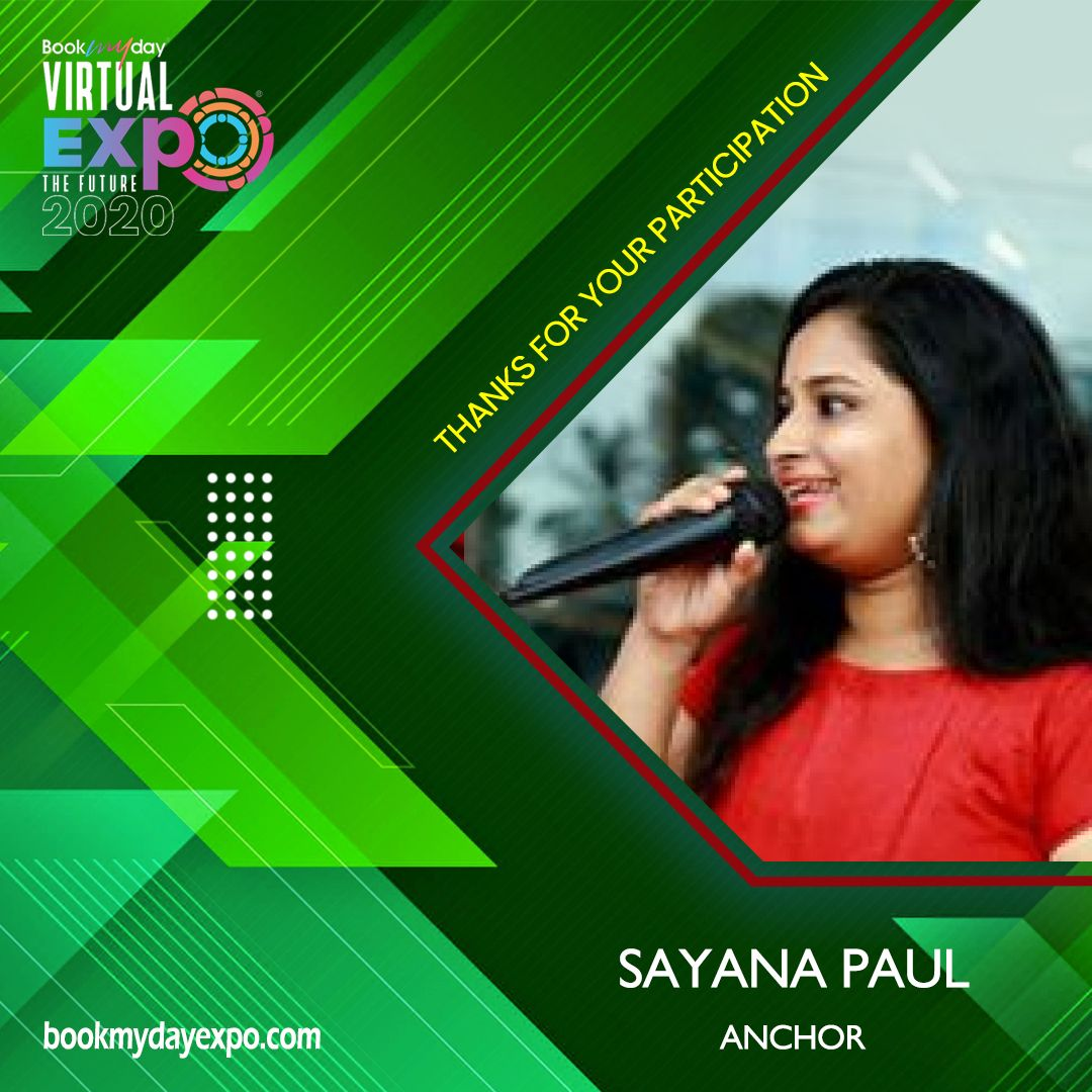 Thank you Sayana Paul for being a part of Bookmyday Virtual Wedding Expo. www.bookmydayexpo.com | 9288001010 #Bookmydayexpo2020 #Wedding #luxurywedding #weddingexpo #designer #eventplanner #virtualevent #virtualexhibition #virtualweddingexpo #eventwedding #weddingexhibition #newnormal