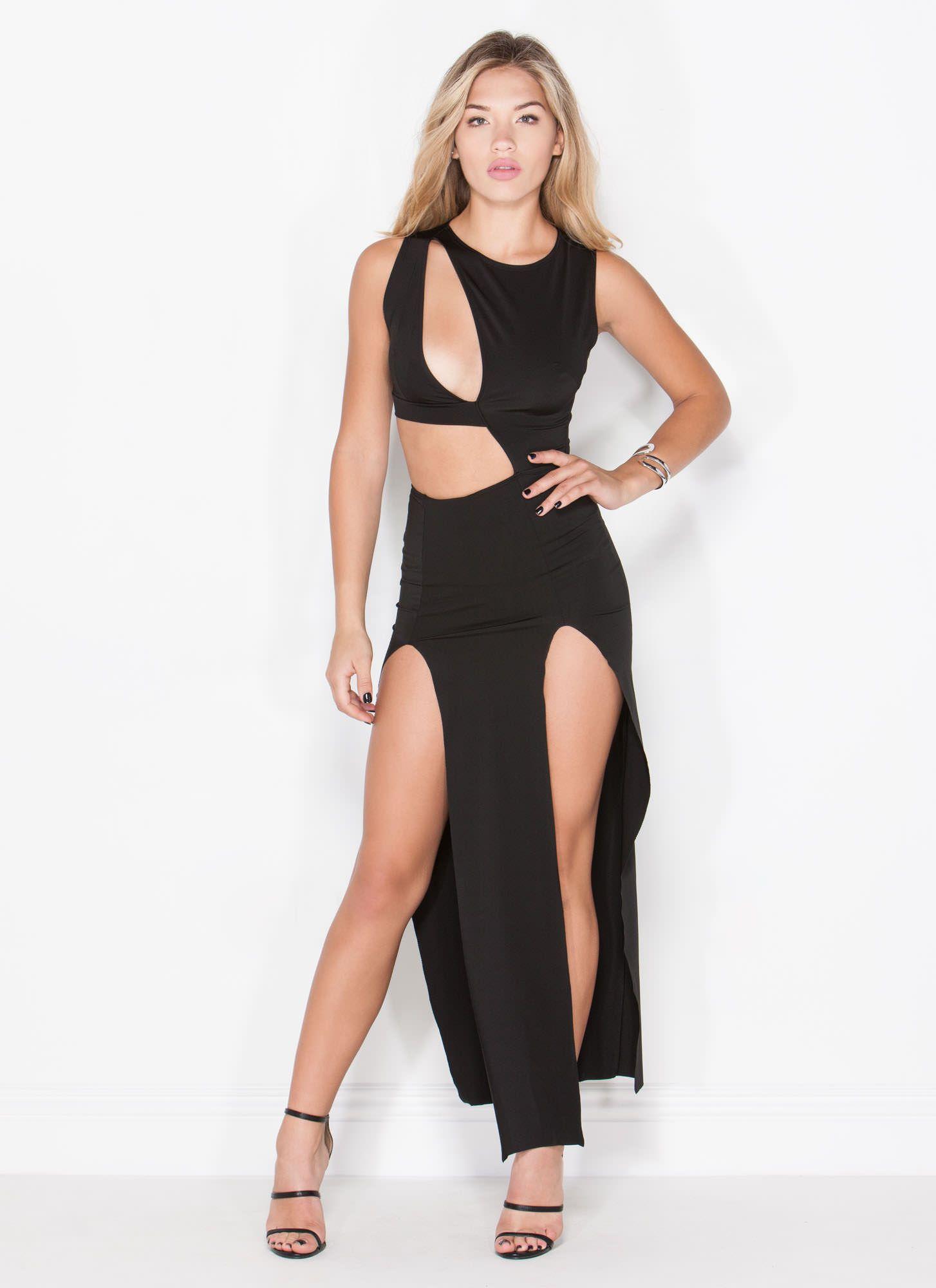 Supermodel Strut Cut-Out Maxi Dress BLACK | Night Out | Pinterest ...