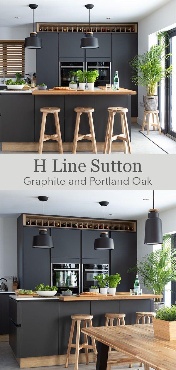 Modern dark grey Scandi kitchen
