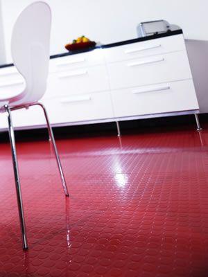 Idea 3 Bright Red Raised Rubber Flooring