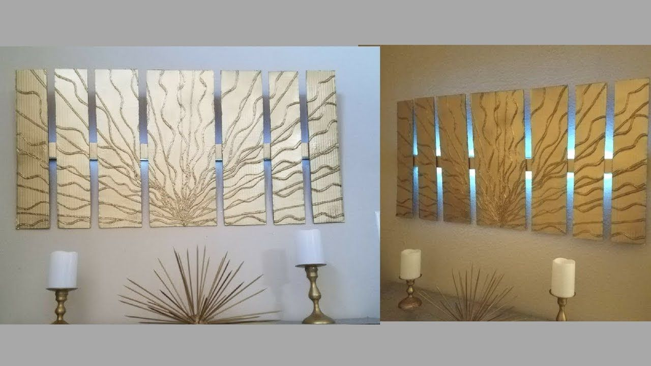 Diy wall decor with in built lighting using cardboards simple and