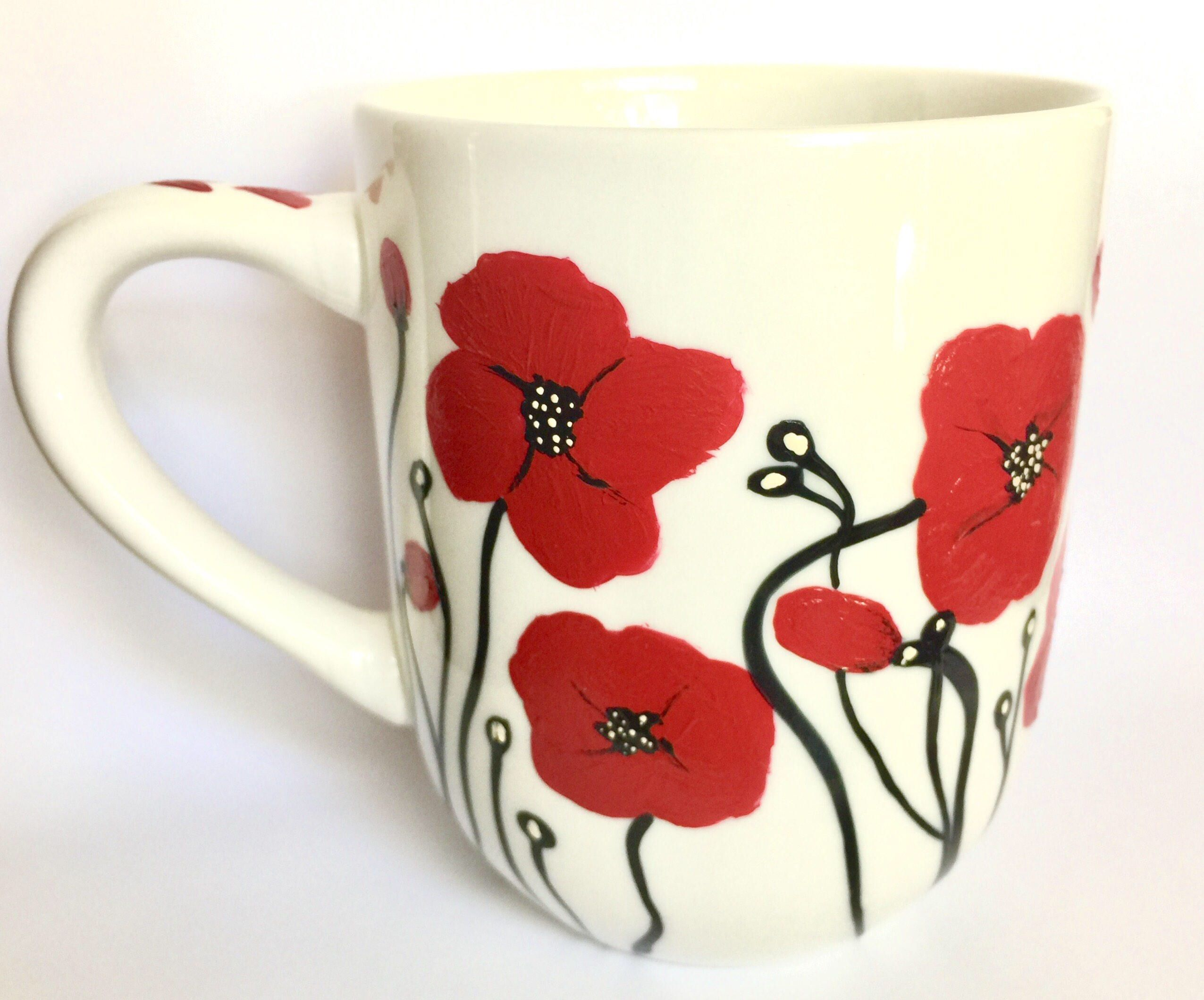 Red Poppy Coffee Mug Hand Painted Flower Poppies Kitchen