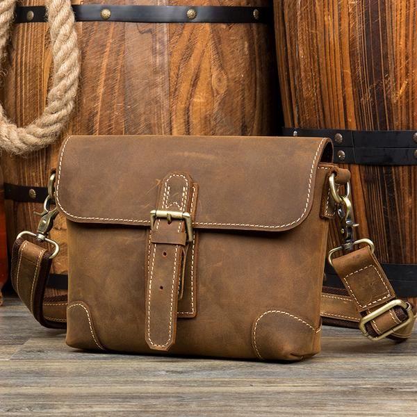 Men/'s Real Leather Briefcase Side Satchel Cross-Body Messenger Shoulder Bag New