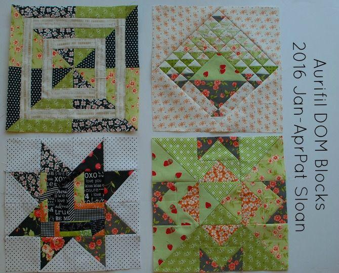 diseñador Pat Sloan Aurifil bloques del mes enero-abril 2016