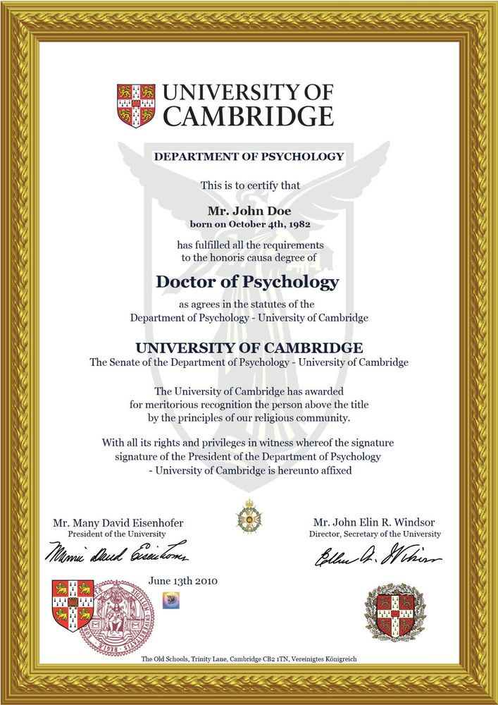Doctorate Diploma Cambridge Doctor Honorary Title Certificate